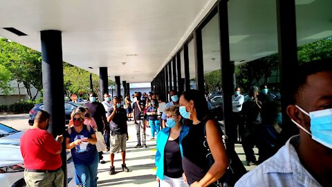 Mask Cultists Clinging to Their Masks at Outdoor DMV Line