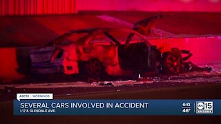 Several cars involved in fiery crash near I-17 & Glendale