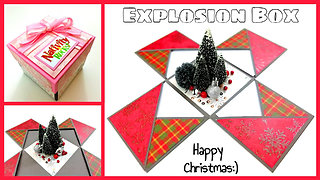 DIY scrapbooking crafts: Christmas explosion gift box