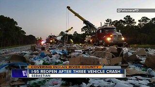 3 vehicle crash closes I-95 SB at Sebastian exit