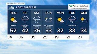Thursday is sunny with highs near 50