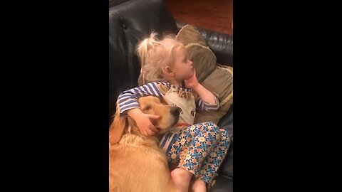 Little girls adorably snuggles with Golden Retriever