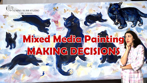 Painting with acrylics on canvas: mixed media cats creative process