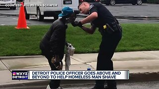 Detroit police officer offers homeless man a shave