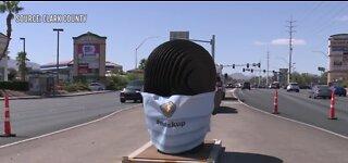 Masks put on sculptures in Las Vegas area