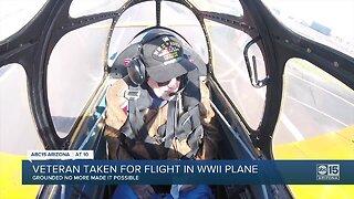 Veteran taken for flight in WWII plane
