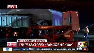 Crash involving semitrailers closes I-71/75 southbound at Kyles Lane