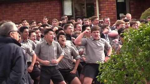 New Zealand boys high school give fierce haka display