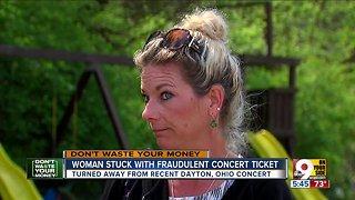 Woman stuck with fraudulent concert ticket