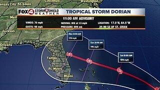 Tropical Storm Dorian -- 11am Wednesday Update