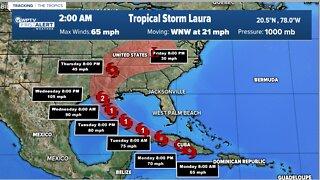 Hurricane Marco heading over Gulf toward Louisiana coast