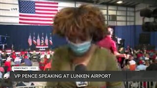 Vice President Mike Pence arrives at Lunken