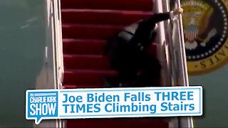 Joe Biden Falls THREE TIMES Climbing Stairs