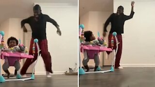 Dad and daughter engage in epic & adorable danceoff