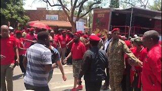 EFF leader Malema lays charges against Pravin Gordhan at Pretoria police station (JeJ)