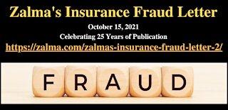 Zalma's Insurance Fraud Letter - October 15, 2021