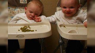 Twin Baby Shares Food With Sleepy Brother