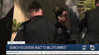 Volunteers react to Millete's arrest