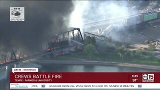 Train fire, derailment in Tempe