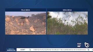 Two brush fires spark near homes