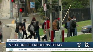 Vista Unified schools fully reopen for in-person learning