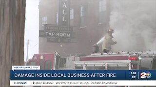 Damage inside local business after fire