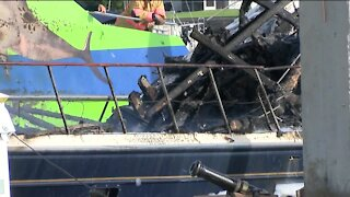 Massive boat fire leaves one man homeless on Fort Myers Beach