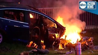 Car engulfed in flames in Tampa