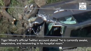 Tiger Woods is 'currently awake and responsive' following a car crash, Tuesday