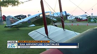Checking out the vintage planes at EAA AirVenture