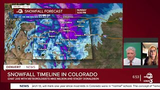 Mike Nelson and Stacey Donaldson discuss latest storm track as of 7 p.m. Saturday