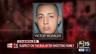 Suspect on the run after shooting family