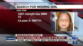 Missing California girl may be in Denver metro area