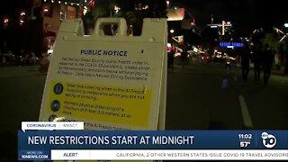 New restrictions start at midnight