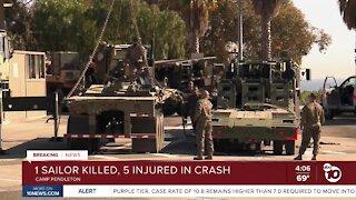 1 Sailor killed, 5 injured in crash near Camp Pendleton