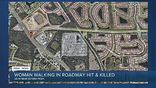 Woman walking in roadway hit and killed