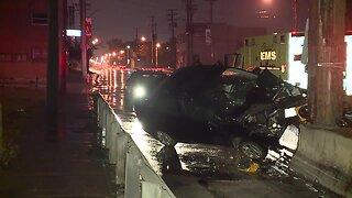Driver hits support column of railroad bridge