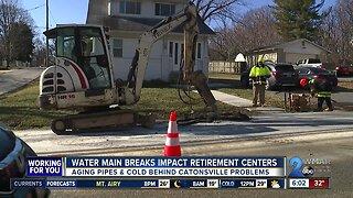 Water main breaks impact retirement centers in Catonsville