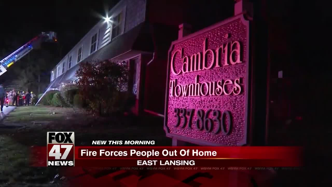 Fire forces people out of home