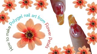 How to make Polygel nail art from Flower Petals