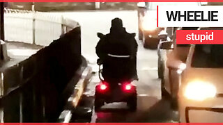 Shocking footage shows mobility scooter user driving into oncoming traffic