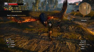 The Witcher 3 Geralt fighting the Griffin