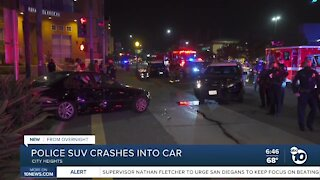 Police SUV crashes into car in City Heights