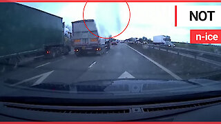 Huge sheet of ice smashes car windscreen after falling off moving lorry