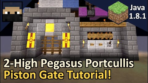 2-High Pegasus Portcullis Piston Gate! Minecraft Java 1.8.1