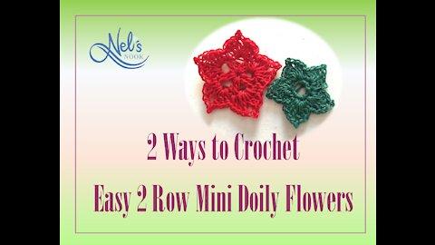 2 Ways to Crochet Easy 2 Row Doily Flowers