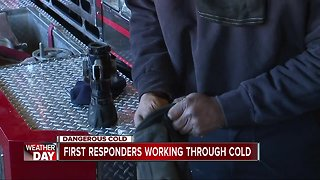 First responders working through dangerous cold