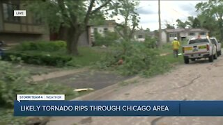 Likely tornado rips through Chicago suburb