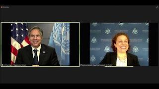 Blinken holds a virtual press briefing through the New York Foreign Press Center