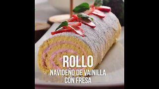 Christmas Vanilla Roll with Strawberries